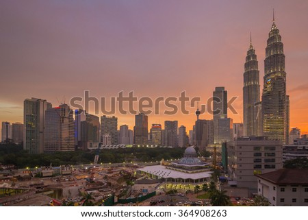 KUALA LUMPUR, MALAYSIA - MAY 29 2015:The construction site around the Petronas Twin Tower on May 29 2015
