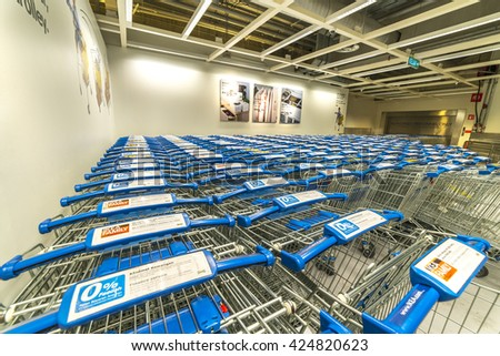KUALA LUMPUR, MALAYSIA - MAY 22, 2016: Trolleys compartment at IKEA Store Kuala Lumpur, Malaysia. Founded in Sweden in 1943, Ikea is the world's largest furniture retailer