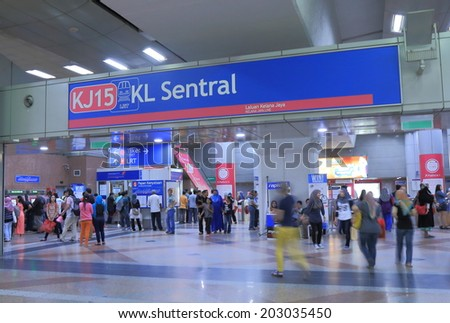 KUALA LUMPUR MALAYSIA - 25 May, 2014:Unidentified people commute at KL Sentral Station. KL Sentral is a major transport hub of Kuala Lumpur opened in 2001.  - stock photo