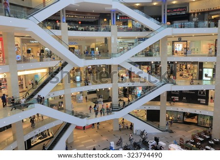 KUALA LUMPUR MALAYSIA - 25 MAY, 2014:Unidentified people shop at PAVILION in Bukit Bintang. PAVILION is a shopping mall located in Bukit Bintang shopping district opened in 2007.