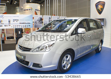 KUALA LUMPUR, MALAYSIA - MEI 19 : A prototype of Proton Exora Hybrid is on display during the 6th World Islamic Economic Forum (WIEF) Mei 19, 2010 in Kuala Lumpur Malaysia. - stock photo