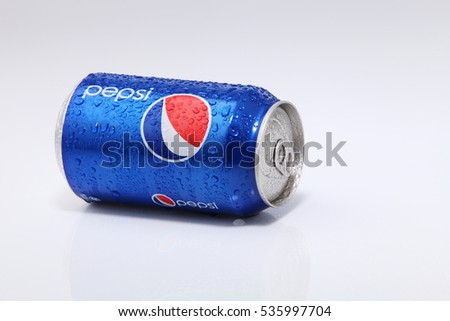 Kuala Lumpur, Malaysia 22nd August 2016,can of pepsi on the white background