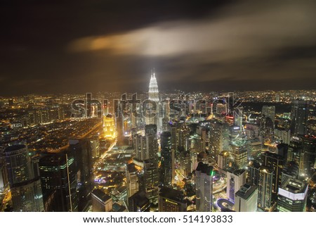 KUALA LUMPUR, MALAYSIA - NOV 04, 2016; Scenery nighscape of Kuala Lumpur City Centre (KLCC). Its modern skyline is dominated by the 451m-tall KLCC, a pair of glass-and-steel-clad skyscrapers.