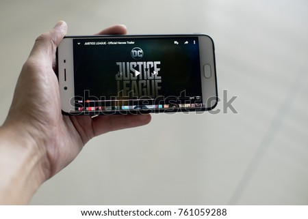 KUALA LUMPUR, MALAYSIA - NOV 23TH, 2017: Justice League movie trailer on Youtube.Justice League is a 2017 American superhero film based on the DC Comics superheroes. Distributed by Warner Bros.