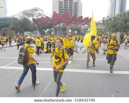 KUALA LUMPUR, MALAYSIA - 19 NOV 2016: Thousands of Bersih 5 protesters  on the central streets of the city