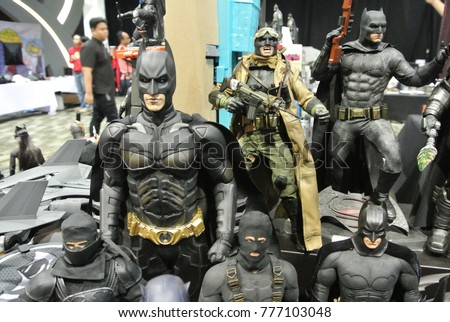 KUALA LUMPUR, MALAYSIA -NOVEMBER 29, 2017: Fiction character of Batman from movies and comic. Batman action figure toys in various size display for public.