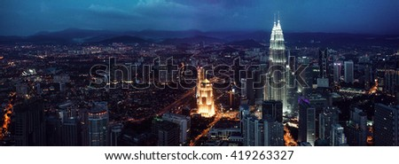 KUALA LUMPUR, MALAYSIA, NOVEMBER 22: Kuala Lumpur skyline at night, view of the centre  city from TV tower November 22, 2014