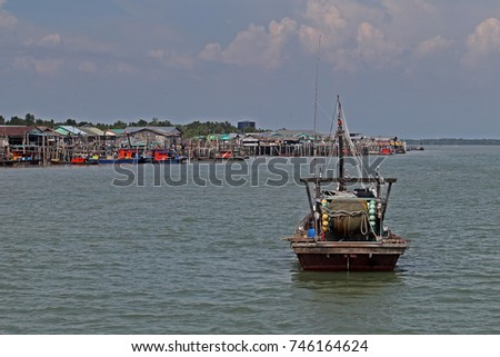 KUALA LUMPUR, MALAYSIA - 1 NOVEMBER 2017: Pulau Ketam (Crab Island) is home to two predominantly Chinese fishing villages founded circa 1880. Its located off the coast of Port Klang, Selangor,