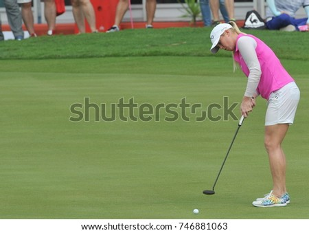 KUALA LUMPUR, MALAYSIA - OCTOBER 28, 2017 : Jacqui Concolino of USA in action during day three of the 2017 Sime Darby LPGA Malaysia at TPC Kuala Lumpur East Course.