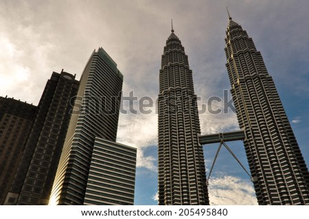 KUALA LUMPUR, MALAYSIA - OCTOBER 7: Petronas Twin Towers on October 7, 2012 in Kuala Lumpur, Malaysia. The skyscrapers height are 451.9m and were the tallest buildings in the world during 1998-2004.