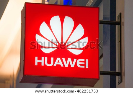 KUALA LUMPUR, MALAYSIA - SEPTEMBER 10, 2016: Close up of the logo of Huawei Technologies Company. Huawei Is a Chinese multinational company headquartered in Guangdong.