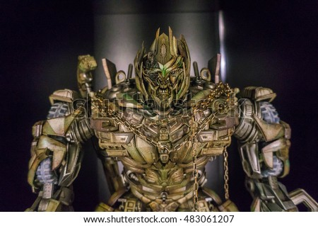 KUALA LUMPUR, MALAYSIA - SEPTEMBER 10, 2016: Close-up of Toys from the Transformers movie on display on Sept 10, 2016 in KL, Malaysia. This event is the promotion for new upcoming Transformers movie.