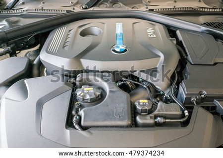KUALA LUMPUR, MALAYSIA - September 4, 2016: Close up view of BMW 330e engine. The BMW 330e is a plug-in hybrid features a four-cylinder gasoline engine and an 88-hp electric motor