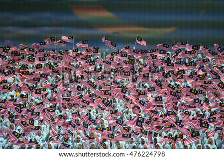 KUALA LUMPUR, MALAYSIA - 31st AUGUST 2016; Merdeka Day celebration is held in commemoration of Malaysia's Independence Day at Dataran Merdeka; one of the most colorful events celebrated annually.