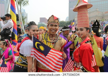 Kuala Lumpur,Malaysia -31 ST August 2015 ; Youth celebrating during 58th Malaysia Independence Day Parade On August 31,2015 in Kuala Lumpur,Malaysia
