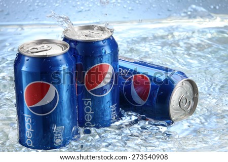 kuala Lumpur,Malaysia 15th April 2015,Can of Pepsi cola on a bed of ice and white background, Pepsi is a carbonated soft drink produced PepsiCo. Created in 1893 - stock photo