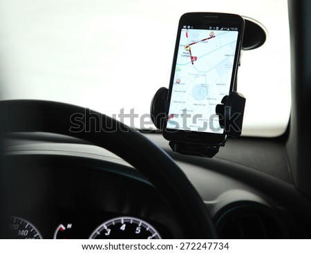 Kuala Lumpur, Malaysia 24th April 2015, Waze was founded in 2008 in Israel and is a community-driven GPS navigation application program for smartphones. It was sold to Google for US$1.3 billion - stock photo