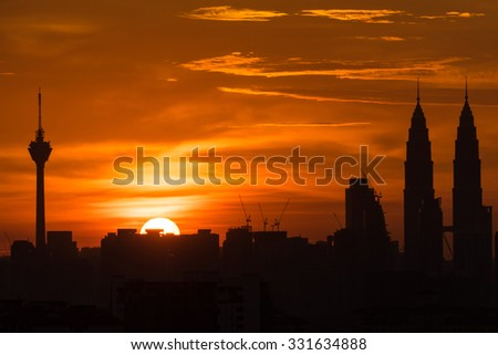 KUALA LUMPUR, MALAYSIA - 24TH AUGUST 2014; Sunset skyline of Kuala Lumpur city with Petronas Twin Towers or Kuala Lumpur City Centre (KLCC) as part of the skyline on August 24, 2014.