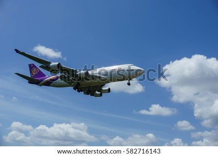 Kuala Lumpur, Malaysia, 17th Feb 2017, Thai Airways Boeing 747 aircraft on landing approach at the airport