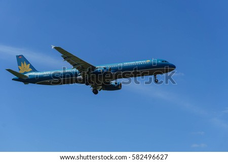 kuala Lumpur, Malaysia, 17th Feb 2017, Vietnam Airlines aircraft on landing approach at the airport