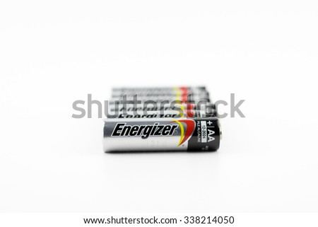 KUALA LUMPUR, MALAYSIA - 11th November 2015. Used Energizer AA batteries. Energizer Holdings is an American manufacturer of batteries and are sold in over 165 countries worldwide - stock photo