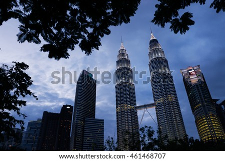 Kuala Lumpur, Malaysia - The Petronas Twin Towers at night time atmosphere on February 10, 2016, The world's tallest Twin Towers.