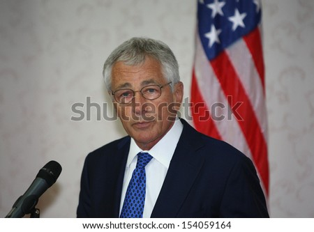 KUALA LUMPUR, MALAYSIA United States (US) Secretary of Defence Chuck Hagel gestures during a jpress conference in Kuala Lumpur, Malaysia, 25 August 2013.  - stock photo