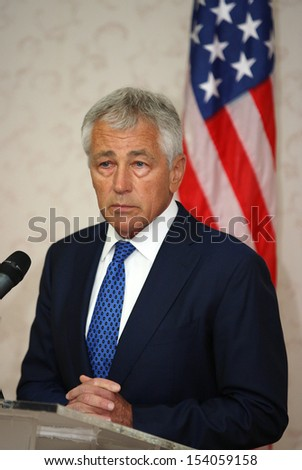 KUALA LUMPUR, MALAYSIA United States (US) Secretary of Defence Chuck Hagel gestures during a press conference in Kuala Lumpur, Malaysia, 25 August 2013.  - stock photo