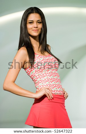 KUALA LUMPUR - MAY 8: A models poses an outfit creation by Schwarzenbach during Licence To Styles fashion show on May 8,2010 in Kuala Lumpur Malaysia - stock photo