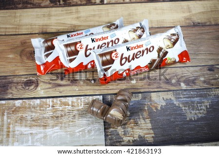 Kuala Lumpur - MAY 12, 2016: Kinder Bueno Chocolate is a confectionery product brand line of Italian confectionery multinational Ferrero.