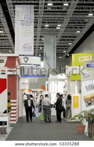 KUALA LUMPUR - MAY 18 : Rows of exhibition booth await international visitor and investor during the 6th World Islamic Economic Forum (WIEF) May 18, 2010 in Kuala Lumpur, Malaysia. - stock photo