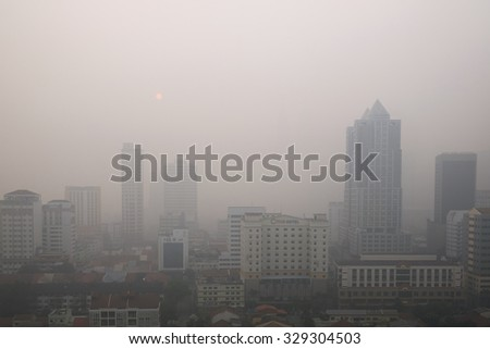 KUALA LUMPUR - OCTOBER 4, 2015 - Dangerous level of thick haze from Indonesia forest fire engulfs Malaysia, view of Kuala Lumpur the capital city taken on October 4, 2015.