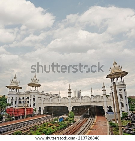 Kuala Lumpur Railway Station with spectacular towers, Malaysia, Asia. - stock photo
