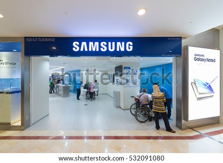 KUALA LUMPUR - SEPTEMBER 13, 2016: The Samsung store in the Suria KLCC. Samsung Electronics Co., Ltd. is the worlds second largest information technology company by revenue, after Apple.