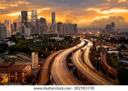 Kuala lumpur skyline in the evening, Malaysia - stock photo