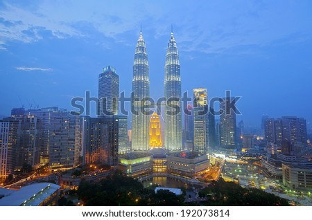 Kuala Lumpur skyline view at night - stock photo