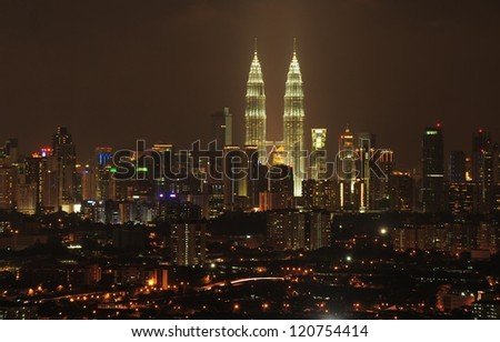 Kuala Lumpur twin tower at night - stock photo