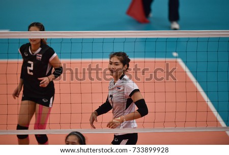 Kualalumpur-Malaysia-27aug2017:Hattaya Bamrungsuk player of thailand in action during competition female volleyball 29th SEAgames between thailand and indonesia at mitec,malaysia