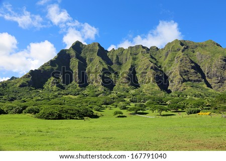 "Kualoa Ranch - film location of ""Jurassic Park"" in Oahu, Hawaii"