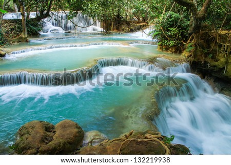 Kuang Si waterfalls at Laos - stock photo