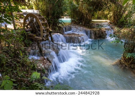 Kuangxi water fall approximately 23 kilometers from the city of Luang Prabang. - stock photo
