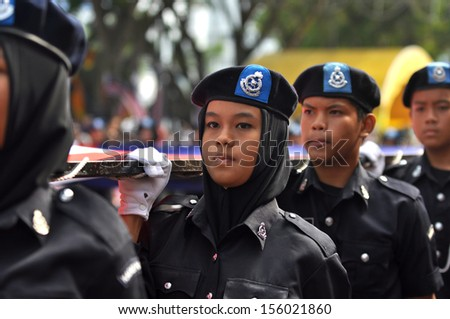 KUANTAN-AUG 31:Malaysians participate in National Day parade, celebrating the 55th anniversary of independence on August 31, 2012 in Kuantan, Pahang, Malaysia.