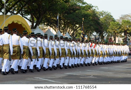 KUANTAN, MALAYSIA-AUG 31: Royal Malay Regiment ready at the National Day parade, celebrating the 55th anniversary of independence on August 31, 2012 in Kuantan,Pahang,Malaysia.