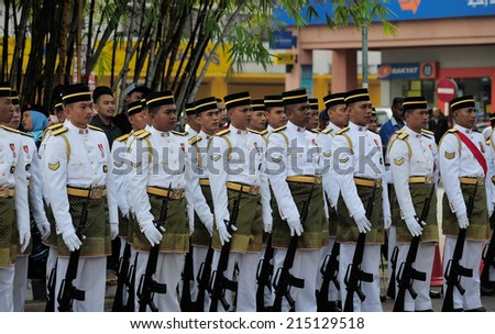 KUANTAN, MALAYSIA - AUGUST 31:Malaysia Defence Forces participate in National Day, celebrating 57th anniversary of independence on August 31, 2014 in Kuantan, Pahang, Malaysia.