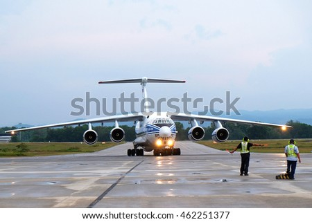 KUANTAN, MALAYSIA - July 31, 2016: A Ilyushin Il 76 landed at Kuantan Airport on July 31, 2016.The Ilyushinis a multi-purpose four-engine turbofan strategic airlifter designed by the Ilyushin.