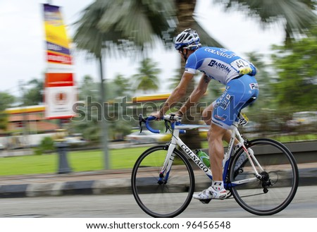 KUANTAN, MALAYSIA - MARCH 1: Locatelli,Paolo from Colnago CSF Inox team during race in stage 7 of the Le Tour de Langkawi from Bentong to Kuantan on March 1, 2012 in Kuantan, Malaysia. - stock photo