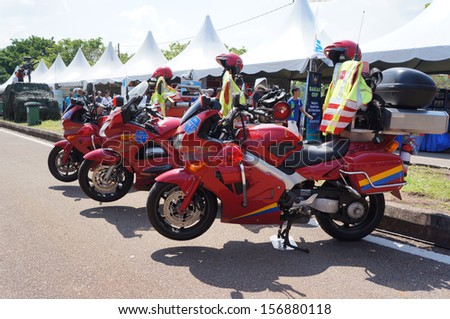 KUANTAN,MALAYSIA-May 19th:A few of firefighter motorcycles on display during Yo Fest (Youth Festival) on May 19th 2012 in Kuantan, Pahang, Malaysia.