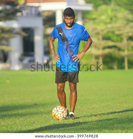 Kuantan, Pahang - February 02, 2016: midfielder Solomun of Pahang FC in action during training session at Taman Gelora field, Kuantan