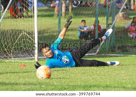 Kuantan, Pahang - Febryary 02, 2016: Goalkeeper Nasril Nordin of Pahang FC in action during training session at Taman Gelora field, Kuantan