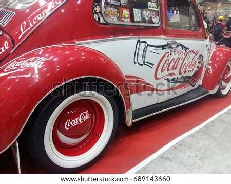 KUANTAN PAHANG MALAYSIA , August 2 2017 - Side view of Coca Cola car.
